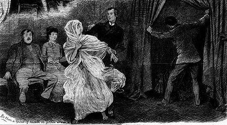 "George Sitwell's illustration shows a ""spirit grabber"" snatching Florence Cook's ghost while another debunker finds her manifestation cabinet empty. (Via VictorianGothic.com)"