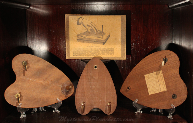 Hodge's display features three G.W. Cottrell planchettes from the 1860s. (Courtesy of MysteriousPlanchette.com)