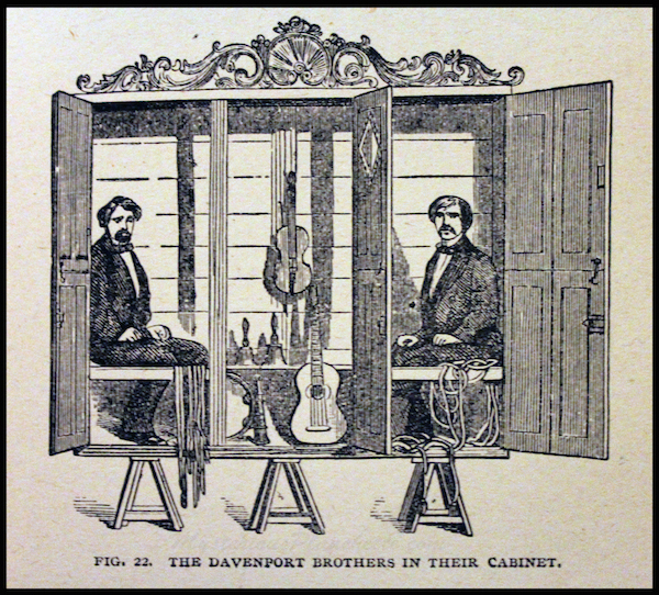 "The Davenport Brothers' manifestation cabinet is depicted in an image from Henry Ridgely Evans' 1902 book ""The Spirit World Unmasked: Illustrated Investigations Into the Phenomena of Spiritualism and Theosophy."" (Courtesy of MysteriousPlanchette.com)"