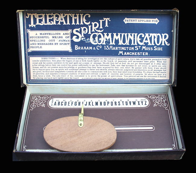Spiritualist W.T. Braham developed this 1910 dial-plate planchette called the Telepathic Spirit Communicator. (Courtesy of MysteriousPlanchette.com)
