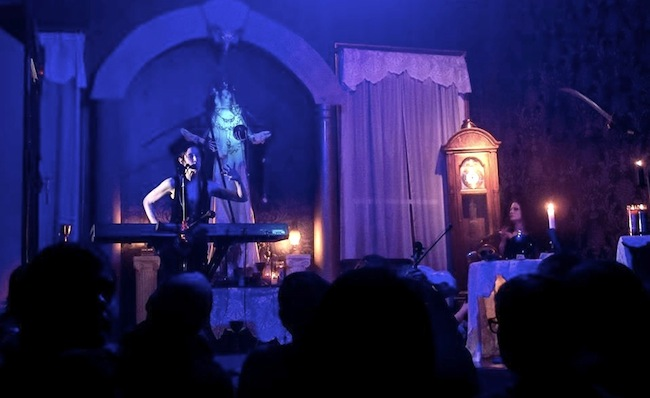 "Jill Tracy, left, and Paul Mercer perform a ""Musical Seance."" (Courtesy of Jill Tracy)"