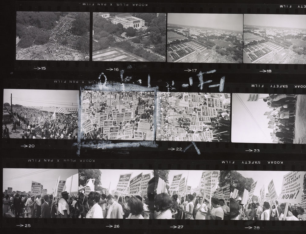A selection of Marion S. Trikosko's negatives from the 1963 March on Washington, with the photographer's notes. Via the Library of Congress.