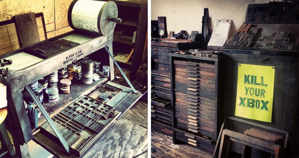 Scenes of Makkos' workspace: Left, a proofing press made by R. Hoe in the late 1870s or early 1880s; right, drawers of type and a handprinted poster. Photos by Ashley Pastore.