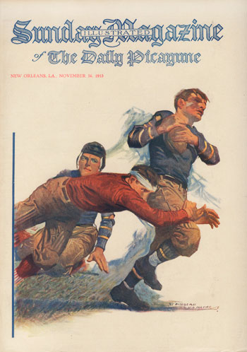 "An illustrated cover of ""The Daily Picayune Sunday Magazine"" from 1913."