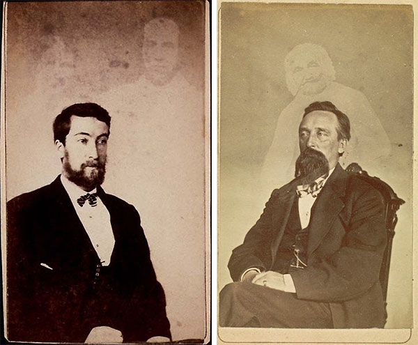So-called ghosts lurk in William Mumler photos of an unidentified young man, left, and John J. Glover, right. (Via WikiCommons)