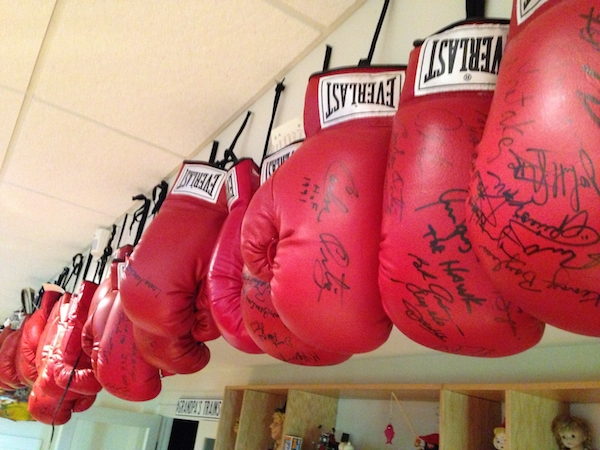 "Gary Seidenfrau has more than 60 boxing gloves signed by fighters inducted into the Boxing Hall of Fame in the last decade. (Via ""Mantiques"")"