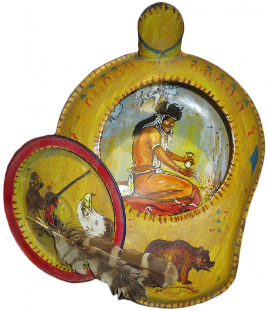 Some of Eakin's bedpans are truly folk art, like this bedpan and lid meticulously decorated with Native American imagery.