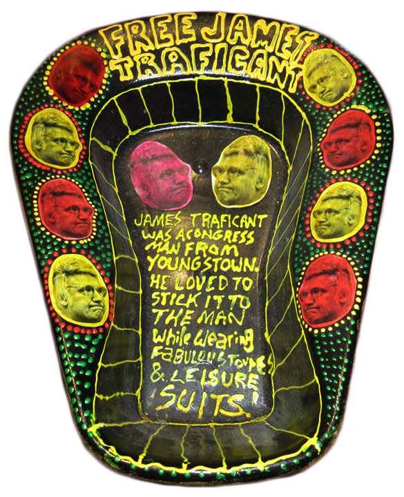 A local artist created this bedpan art dedicated to James Traficant, a former politician who went to prison for bribery and extortion.