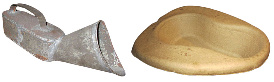 Eakin's collection also includes less-inviting devices like a rustic tin urinal (left) and a disposable bedpan made from recycled newspaper (right).