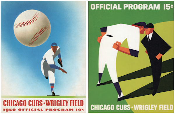 From the 1930s to 1960s, Otis Shepard designed uniforms, programs, and logos for yet another Wrigley property, the Chicago Cubs. At left is perhaps his most iconic program, from 1950. At right is another from 1966, when Otis was retired from Wrigley's but still doing work as a freelancer.