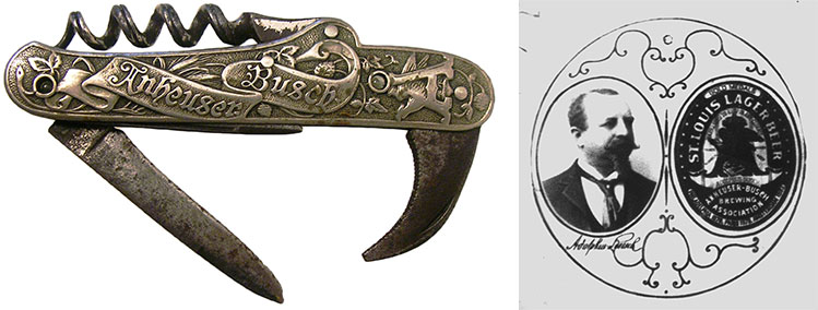 One of Melnick's Anheuser-Busch bartender knives and an advertising image from one of the company's Stanhopes, circa 1880. Photos courtesy Howard Melnick.
