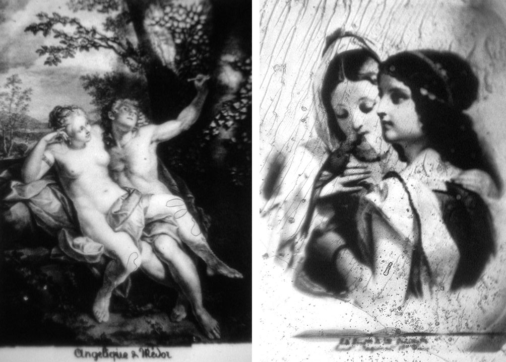 Left, a classical painting of Angélique and Médor from a Stanhope viewer, and right, a microphotograph of two girls and a parakeet from Jean Scott's very first Stanhope, both circa 1865.