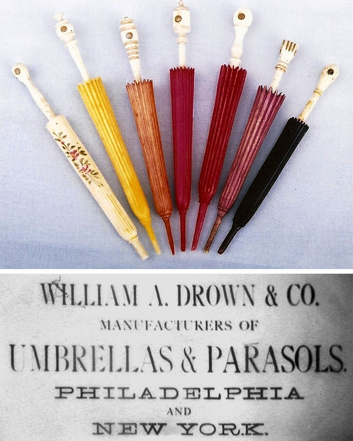 Top: A selection of colorful parasol-shaped needle cases in Jean Scott's collection. Bottom: An image from a Stanhope umbrella advertisement. Photo courtesy Howard Melnick.