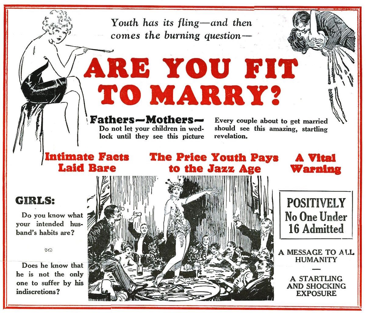 "The 1927 movie ""Are You Fit to Marry?"" promotes eugenics and includes the 1916 short movie, ""The Black Stork,"" which advocates the idea that babies born with syphilis and other deforming diseases should be left to die. Click image to see larger."