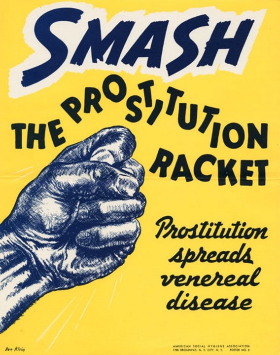 "A 1940 poster from the ASHA blames the spread of venereal disease on prostitutes. This 1922 ASHA physical-education poster echoes the sentiments of ""The Science of Life."" (Courtesy of Social Welfare History Archives, University of Minnesota Libraries)"