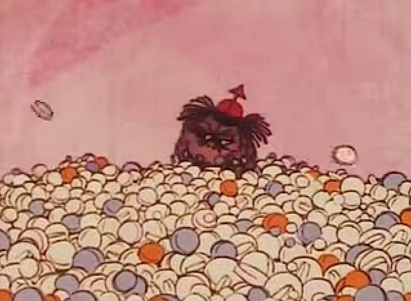 "In the 1973 Disney animation ""VD Attack Plan!"", Contagion Corps Sergeant gives a pep talk to armies of syphilis and gonorrhea germs, surrounded by phony pills that don't hurt him."