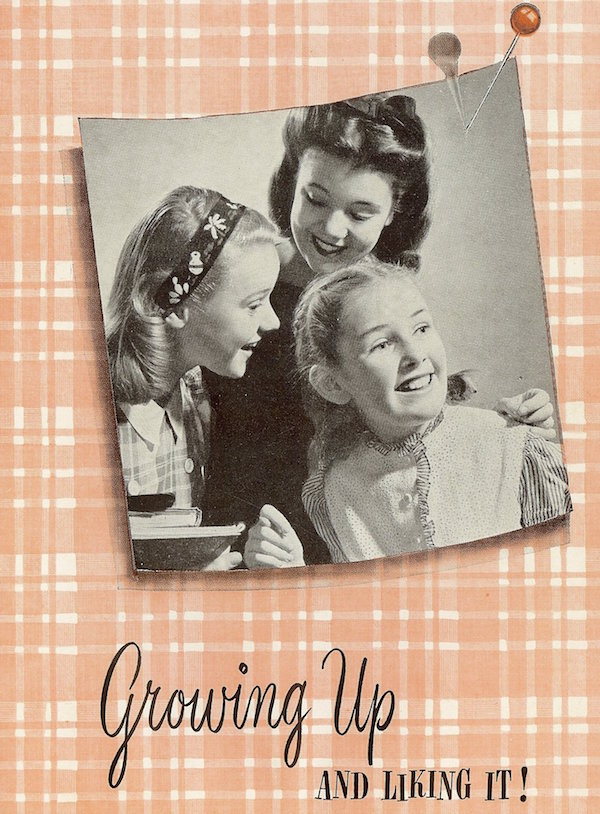 "Top: The 1938 movie ""Human Wreckage: They Must Be Told"" (later re-released as ""Sex Madness"") tells the story of a chorus girl who is promiscuous with both men and women and contracts venereal disease. Above: Pamphlets entitled ""Growing Up and Liking It!"" were distributed to schoolgirls who watched Modess' film on menustration in the 1960s. (Pamphlet courtesy of the Prelinger Archives)"
