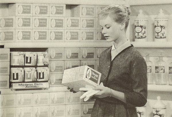 """The back of the 1960 """"Growing Up and Loving It!"""" pamphlet encourages girls to buy Teen-Age by Modess sanitary napkins and """"Princess"""" Vee-Form belts. (Courtesy of the Prelinger Archives)"""