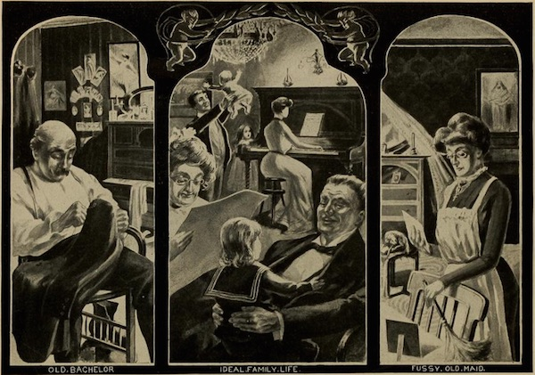 """The frontispiece by J.A. Hertel for the 1903 book """"Social Purity, or The Life of the Home and Nation"""" compares the lonely Old Bachelor and Fussy Old Maid with the happy Ideal Family Life. (Via Open Library at the Internet Archive)"""