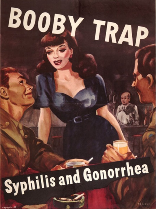 "Another WWII-era poster, featuring cheesecake art, warns against the ""booby trap."" (Courtesy of Social Welfare History Archives, University of Minnesota Libraries)"