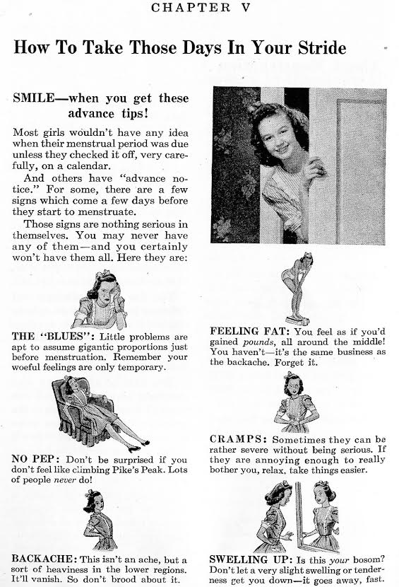 """A 1960s """"Growing Up and Liking It!"""" pamphlet instructs girls on """"How to Take Those Days in Your Stride."""" Click image to see larger. (Courtesy of the Prelinger Archives)"""