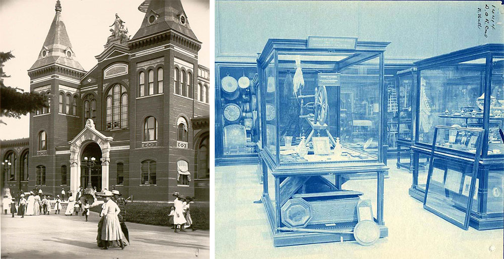 Left, the entrance of the National Museum, circa 1881. Right, a display in the museum, circa 1897.