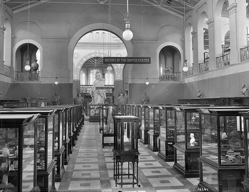 The North Hall display of United States history in the Arts and Industries Building, circa 1920.