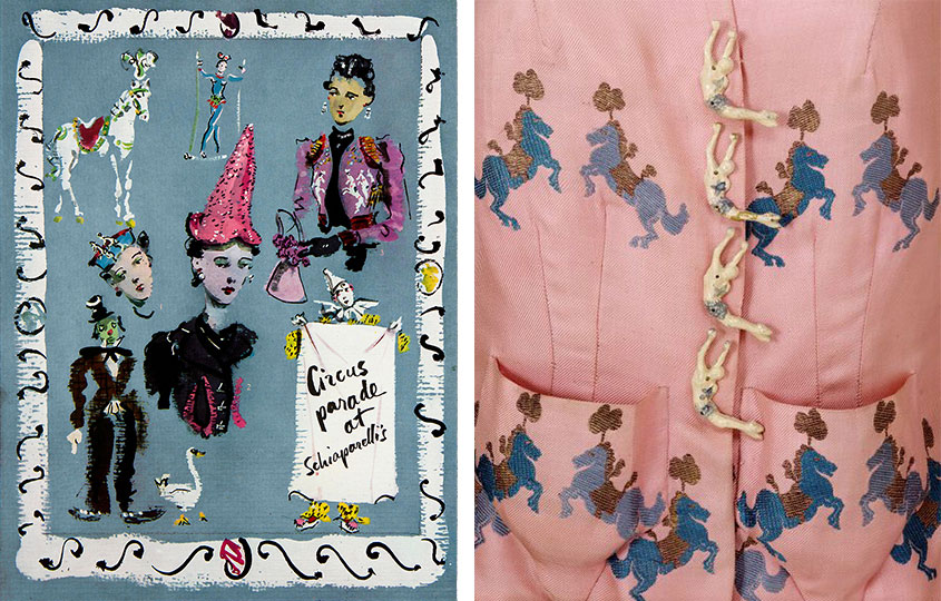 Left, a painted advertisement for Schiaparelli's 1938 Circus collection. Right, a detail of acrobatic buttons on a pink silk jacket. © Victoria and Albert Museum, London.