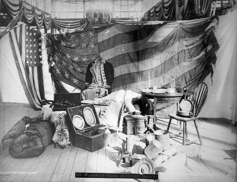 A display of George Washington-related objects at the 1876 Centennial celebration in Philadelphia.