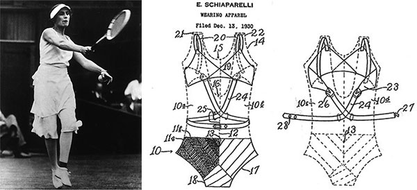 Left, Lilí Álvarez wears a divided skirt by Schiaparelli in 1931. Right, the 1930 patent illustration for Schiaparelli's swimsuit with a built-in bra.
