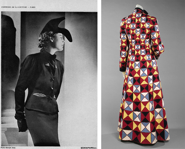 Left, a spread from French fashion magazine 'Oficiel in 1937 featuring Schiaparelli and Dali's Show Hat and a jacket with embroidered lips. Right, a harlequin-patterned coat from 1939.