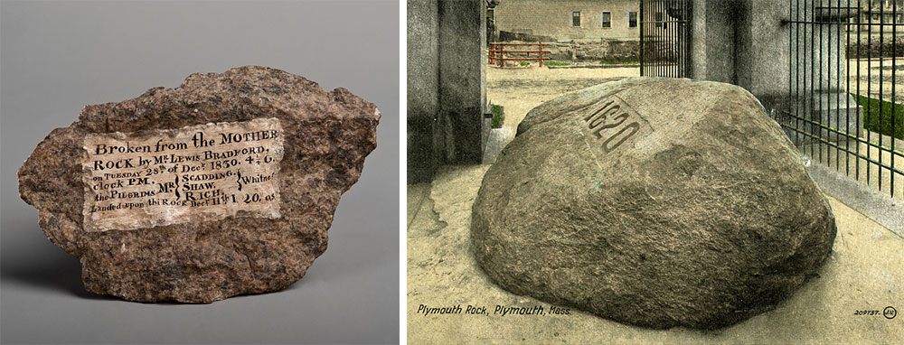 Top: A piece of the Washington Monument's 1848 cornerstone was accidentally broken off during construction and collected by philanthropist Joseph Meredith Toner. (Photo by Richard W. Strauss, Smithsonian Institution.) Above: Early visitors to Plymouth Rock were given hammers to chip off souvenirs for themselves, like the fragment at left, but the stone was protected in a gated memorial by 1880, as shown on the postcard at right.