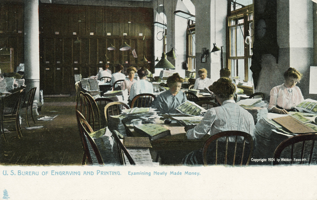 The Bureau of Printing and Engraving was a popular Washington, D.C., tourist destination, as seen on a postcard from 1904. (Photo by Richard W. Strauss, Smithsonian Institution.)