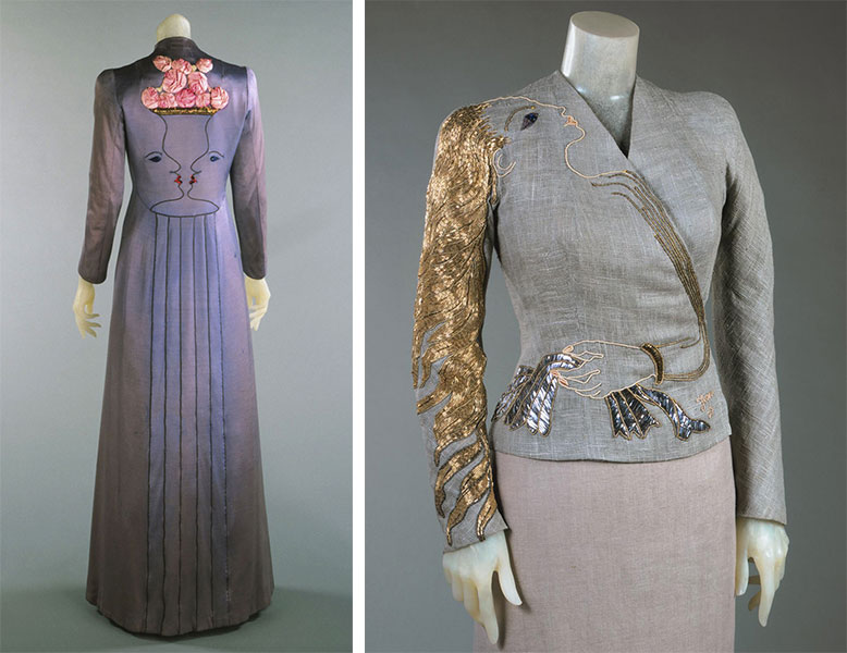 "Two collaborations with Jean Cocteau included a <a href=""http://www.philamuseum.org/collections/permanent/65332.html?mulR=759792134%7C25"">long evening coat</a>, at left, and a <a href=""http://www.philamuseum.org/collections/permanent/65317.html?mulR=744316047%7C14"">sequined evening jacket</a>, at right, both from 1937. Courtesy the Philadelphia Museum of Art."