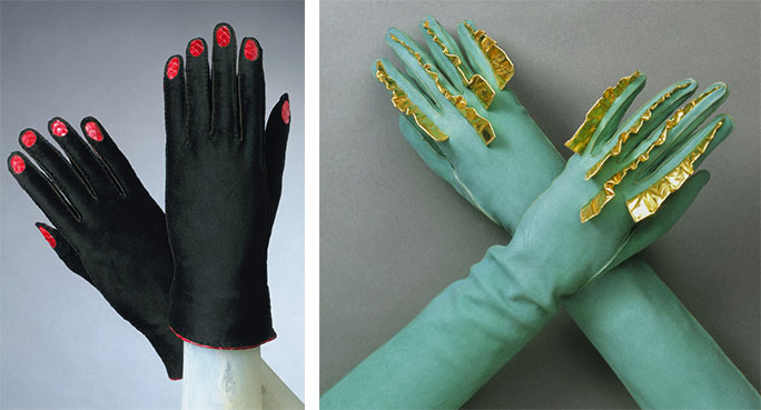 "Top: A model wears Schiaparelli designs in 1952, including an oversized fly brooch. Above: A pair of <a href=""http://www.philamuseum.org/collections/permanent/65330.html"">black suede gloves</a> with red snakeskin fingernails from 1936 and a pair of <a href=""http://www.philamuseum.org/collections/permanent/125335.html"">aqua doeskin gloves</a> with golden fins from 1939. Courtesy the Philadelphia Museum of Art."