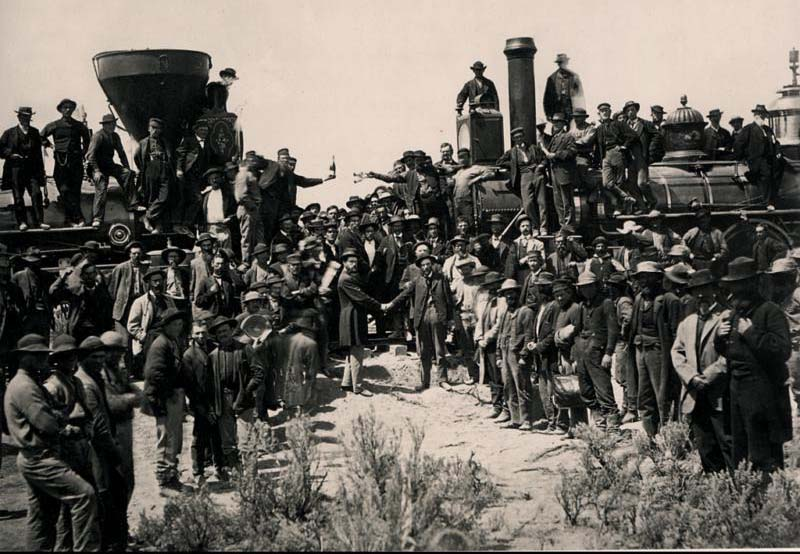 A photograph of the Golden Spike ceremony following the completion of the transcontinental railroad route in Promontory, Utah, on May 10, 1869.
