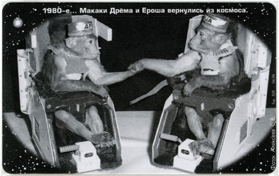 "A 1991 phone card showing two of the Soviet space monkeys who followed the dogs into space. The text reads, ""1980s... The monkeys Dryoma and Erosha return from space."" (© FUEL Publishing / Marianne Van den Lemmer)"