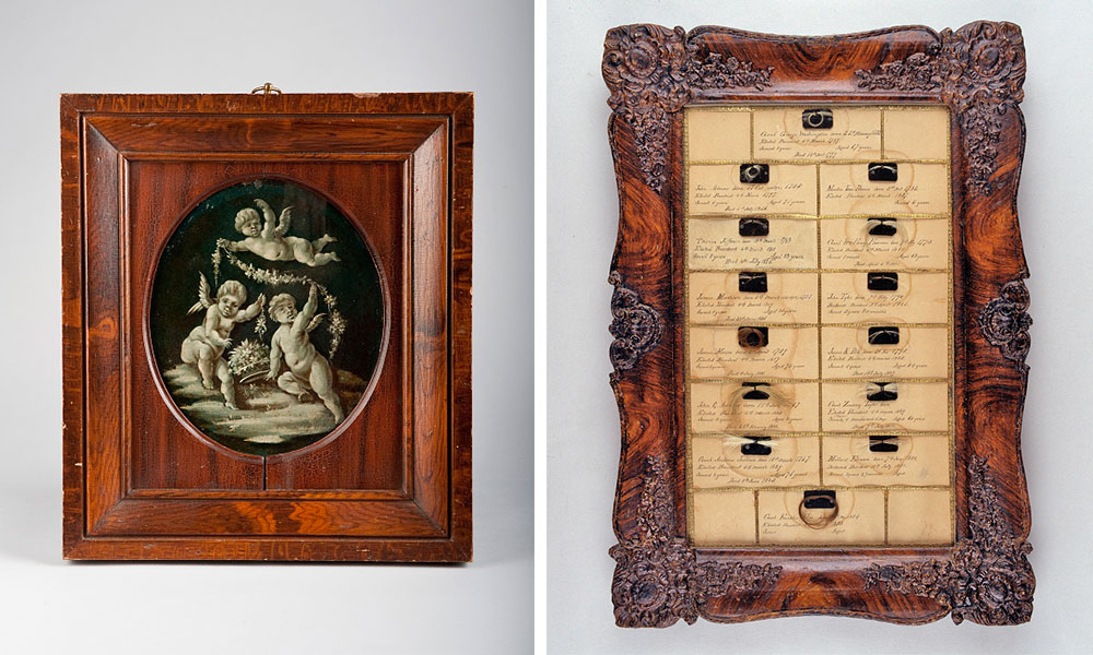 "Two objects from Varden's National Museum that eventually made their way to the Smithsonian: Left, a painted panel from George Washington's coach, and right, a framed collection titled ""Hair of the Presidents"" from 1855. (Photo by Richard W. Strauss, Smithsonian Institution.)"