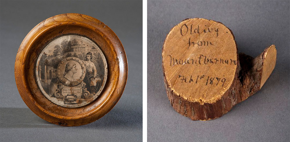 Left, a small wooden plaque made by James Crutchett at Mount Vernon in 1852. Right, an 1879 ivy cutting supplied a makeshift souvenir from Washington's estate. (Photo by Richard W. Strauss, Smithsonian Institution.)