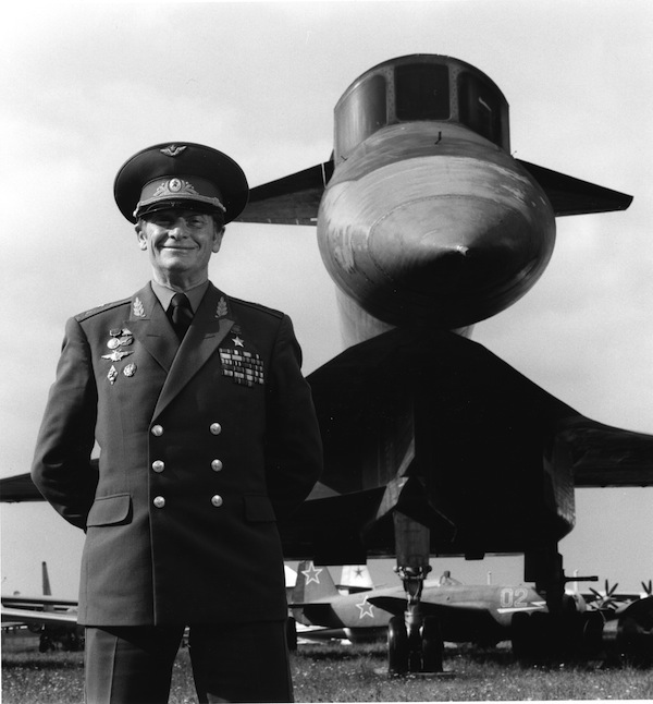 General Vladimir Ilyushin is the only man to have flown the intercontinental nuclear bomber prototype behind him. Photographed at the Russian Air Force Museum, south of Moscow, 1990.