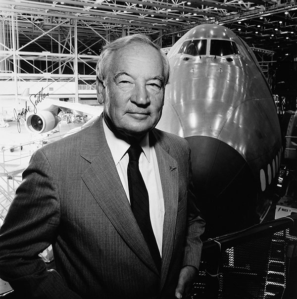 Joseph Sutter, father of the 747, at the 747 factory in Everett, Washington, 1991.