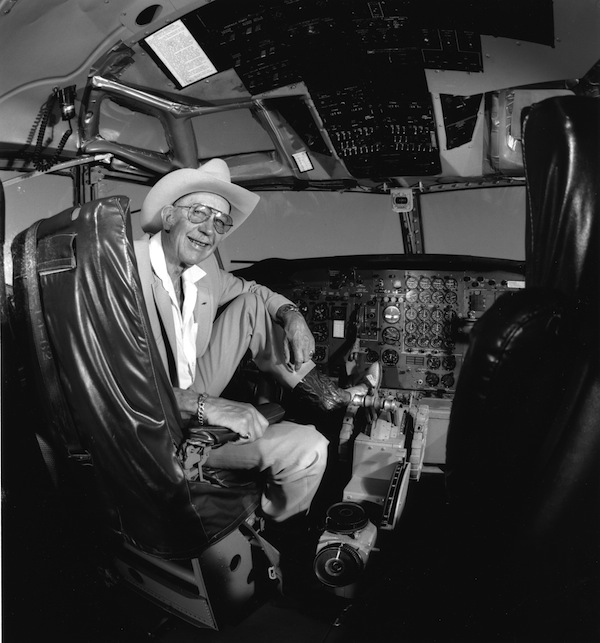 Tex Johnson, former chief test pilot for Boeing, in the cockpit of the original Boeing 707 prototype, 1991. Johnson is famous for barrel-rolling this plane during a demonstration flight.