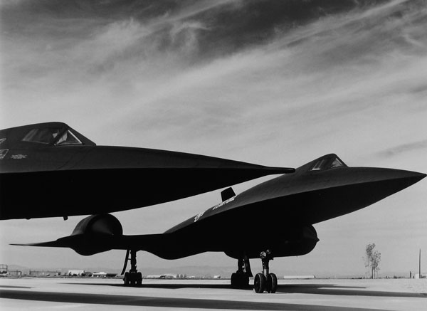 A pair of SR-71 reconnaissance jets parked at the Lockheed facility in Palmdale, California, 1998.