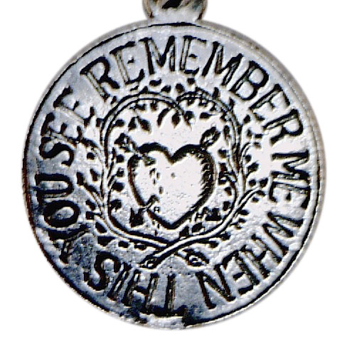 """When this you see, remember me"" is a phrase thought to have originated on prisoner tokens, or love tokens made by British subjects sentenced to be shipped to penal colonies in Australia and New Zealand. This is a modern stamped reproduction of a Victorian love token. (Courtesy of the Love Token Society)"