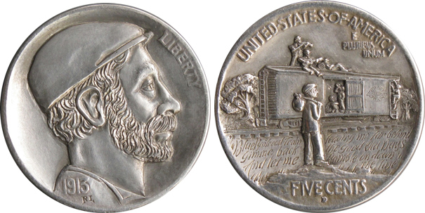 A modern-day hobo nickel by Ron Landis. (Courtesy of the Love Token Society)