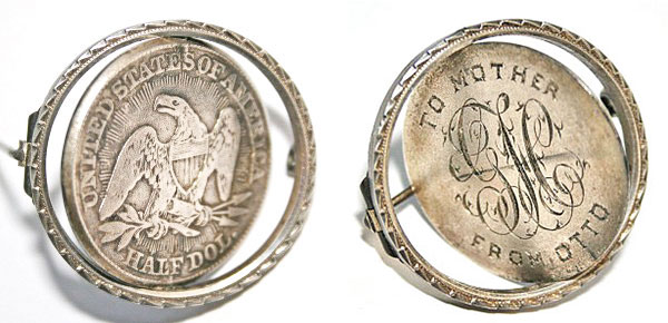 "This love token ""spinner pin,"" made from a half dollar, could be worn with either side facing outward. (Courtesy of the Love Token Society)"