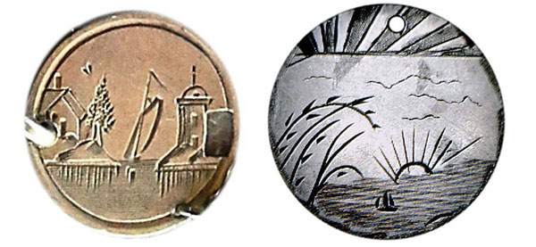Left, a landscape shows a lighthouse, house, and a boat on a three-cent silver coin, which is part of a love-token bracelet. Right, a boat sails off into the sunset. (Courtesy of the Love Token Society)
