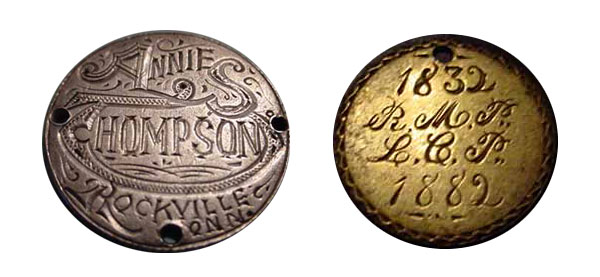 "It's rare that love tokens will have a first and last name, as well as a location like this ""Annie S. Thompson"" token, at left, engraved on an 1877 Liberty seated quarter. At right, a type III gold dollar was engraved into a golden anniversary gift. (Courtesy of the Love Token Society)"