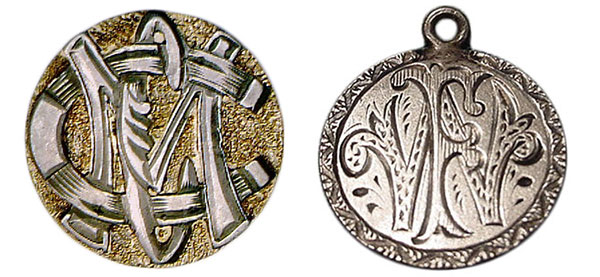 "These tokens feature overlapping initials: A ""CMC"" with horseshoe for a ""C,"" at left, and an ""FW,"" at right. (Courtesy of the Love Token Society)"
