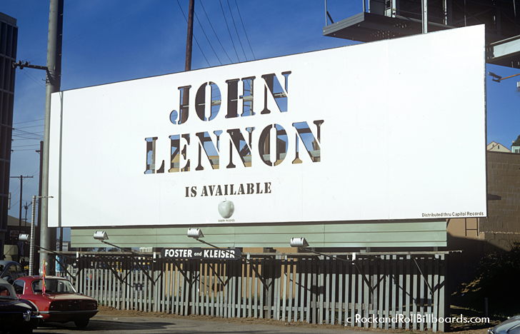 An understated billboard created for John Lennon in 1971 utilized cut-out lettering. Photo by Robert Landau.